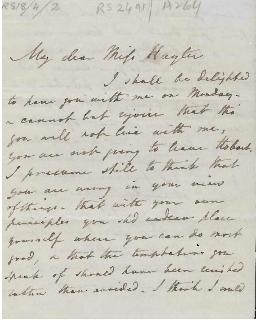 Letter from Jane, Lady Franklin to Miss Hayter