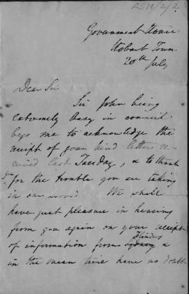Copy of letter to unknown gentleman
