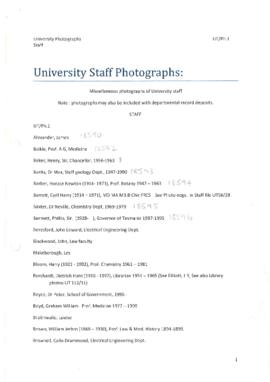 Index to UT/Ph 1 - Staff Photographs
