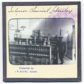 Interior of chemical laboratory at Domain House